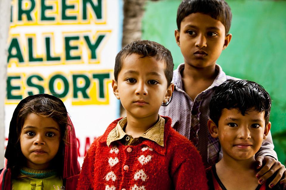 Children, Girl, Boy, Man, India, Nepal, Group, People