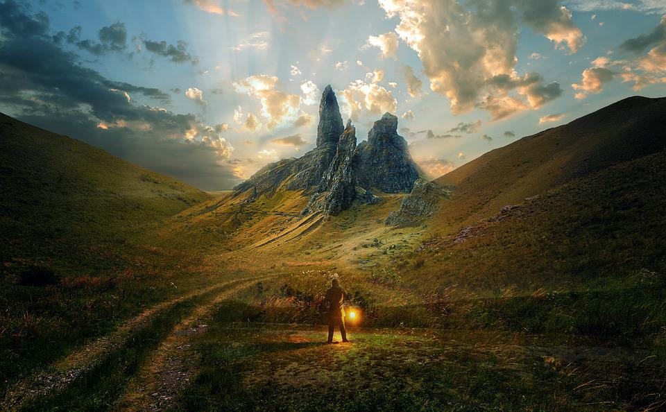Man, Mountains, Fantasy, Lamp, Light, Person