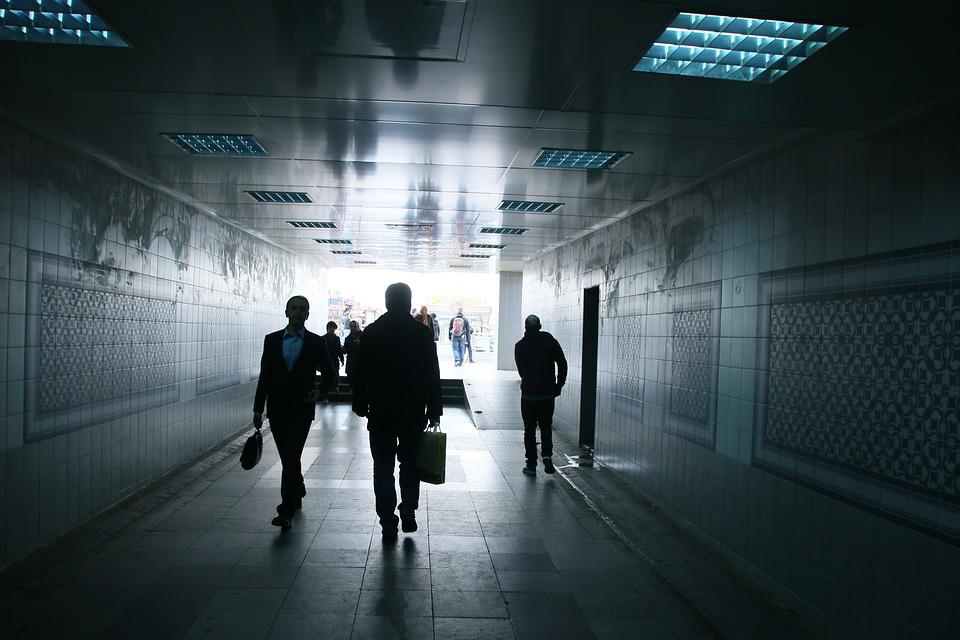 Tunnel, People, Dark, Walk, Man, Light, Architecture
