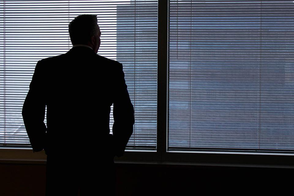 Businessman, Silhouette, Windows, Looking Out, Man