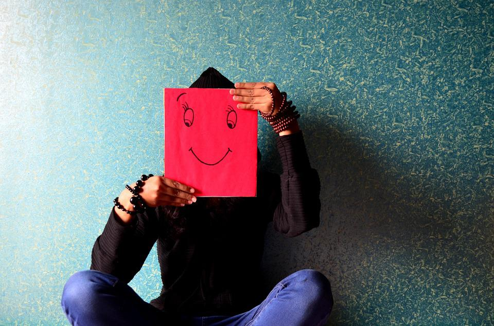 Man, Happy, Face, Smiley, Mask, Sitting, Expression