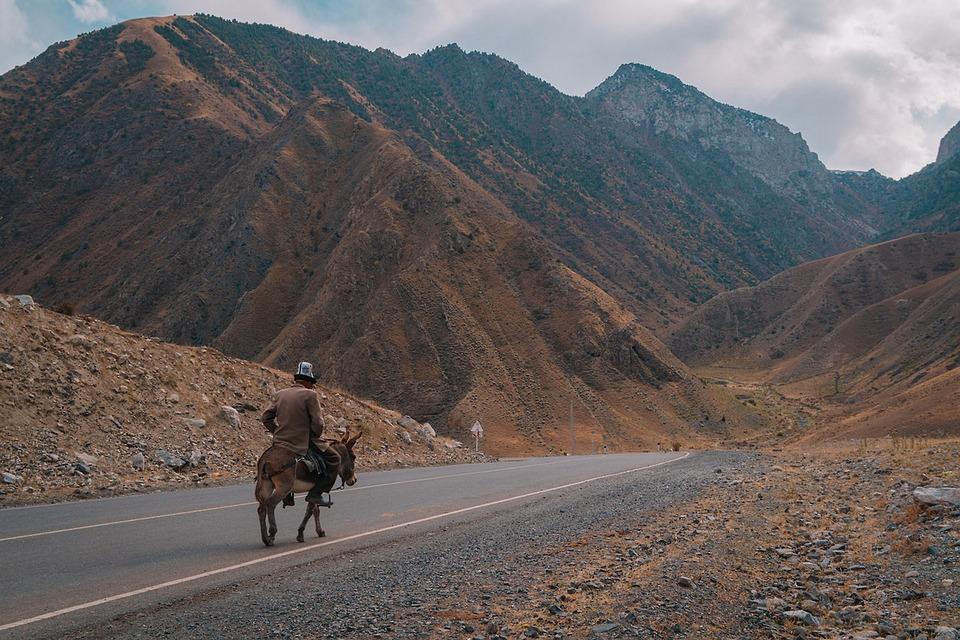 Mountain, Man, Horse, Landscape