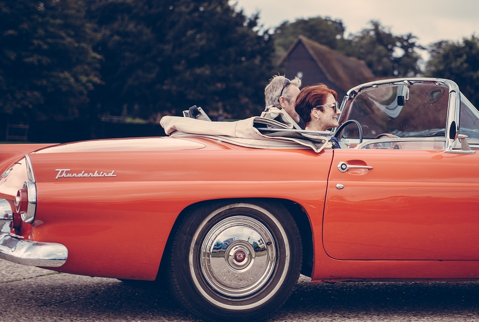 vintage car in Woman