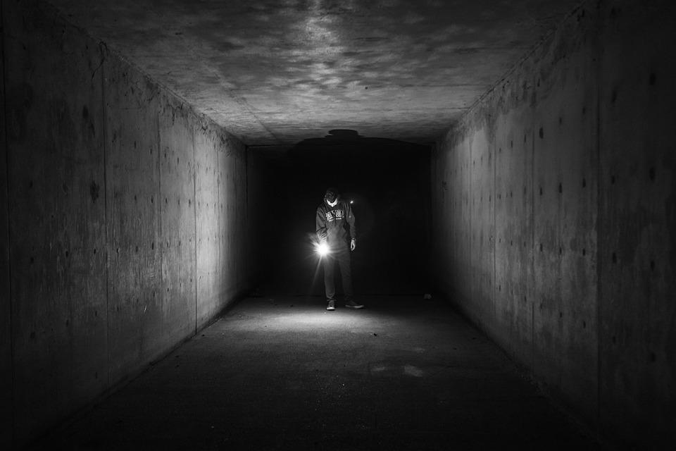 Flashlight, Dark, Tunnel, Underground, Guy, Man, People