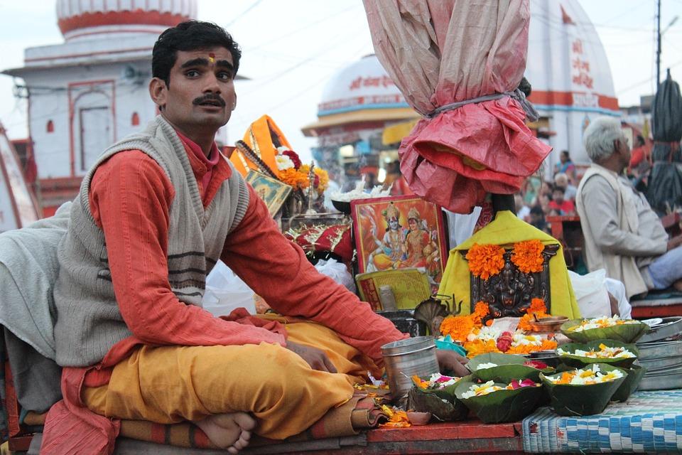 Man, People, India, Pandit, Ganesh, Ganga, Haridwar