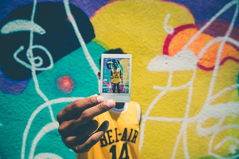 Polaroid, Photo, Picture, Guy, Man, People, Graffiti