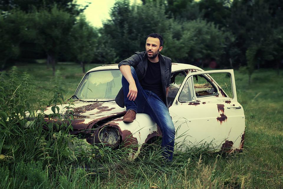 Man, Portrait, Adult, Sitting, Relaxed, Classic Car