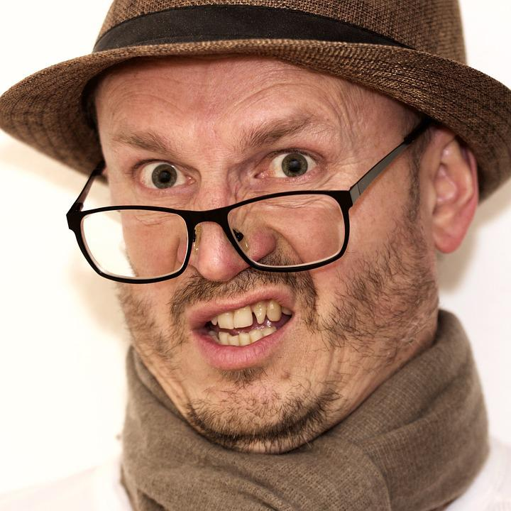 Man, Hat, Glasses, Unsettled, Male, Portrait