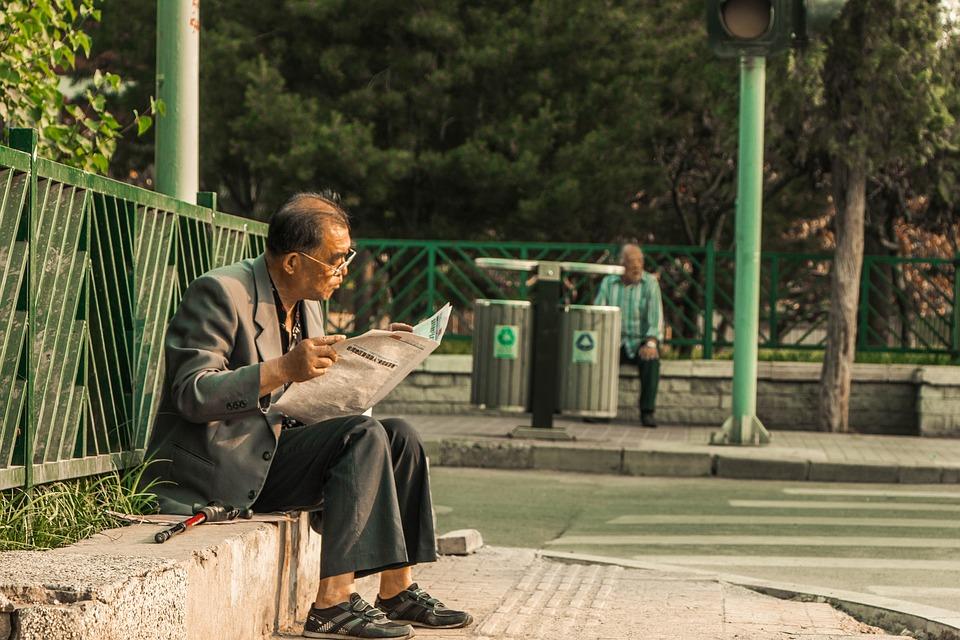 Reading Newspapaer, Newspaper, Man, Street, Old Man