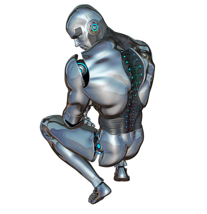 Man, Face, Back, Posing, Robot, Cyborg, Android