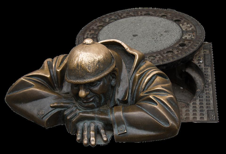 Sculpture, Bratislava, Slovakia, Bronze Sculpture, Man