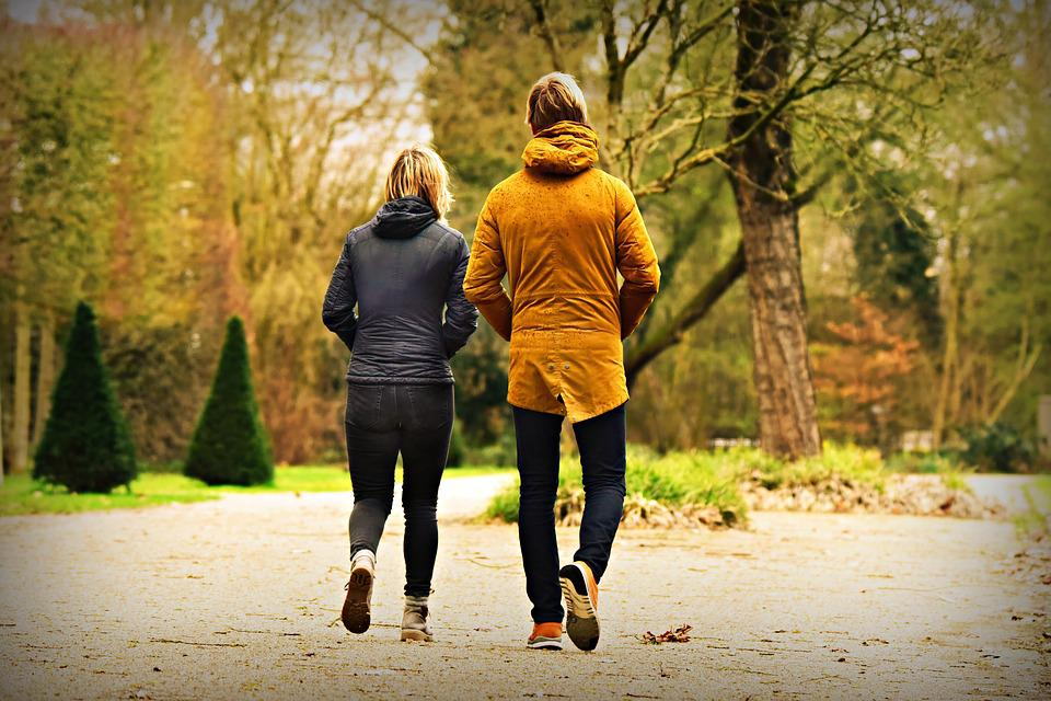 Man, Woman, Couple, Walking, Side By Side, Together