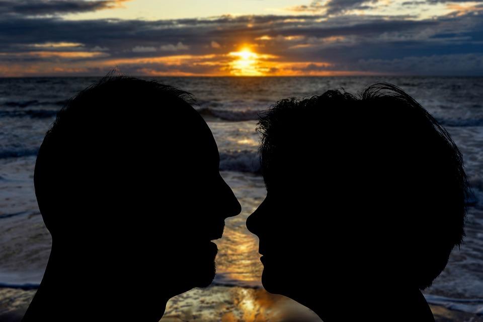 Silhouette, Love, Romance, Sunset, Kiss, Man, Woman