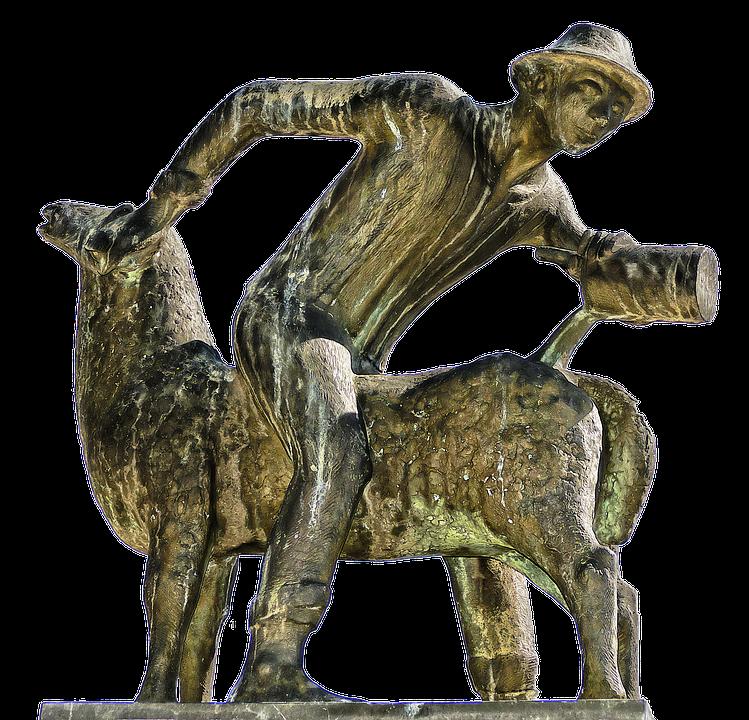 Sheep Scrubber, Man, Sheep, Wash, Bronze Statue, Statue