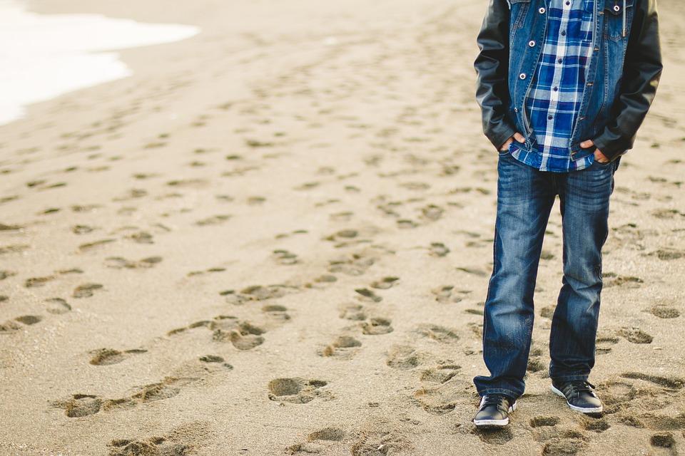 Fashion, Man, Beach, Holiday, Vacation, Sand, Steps