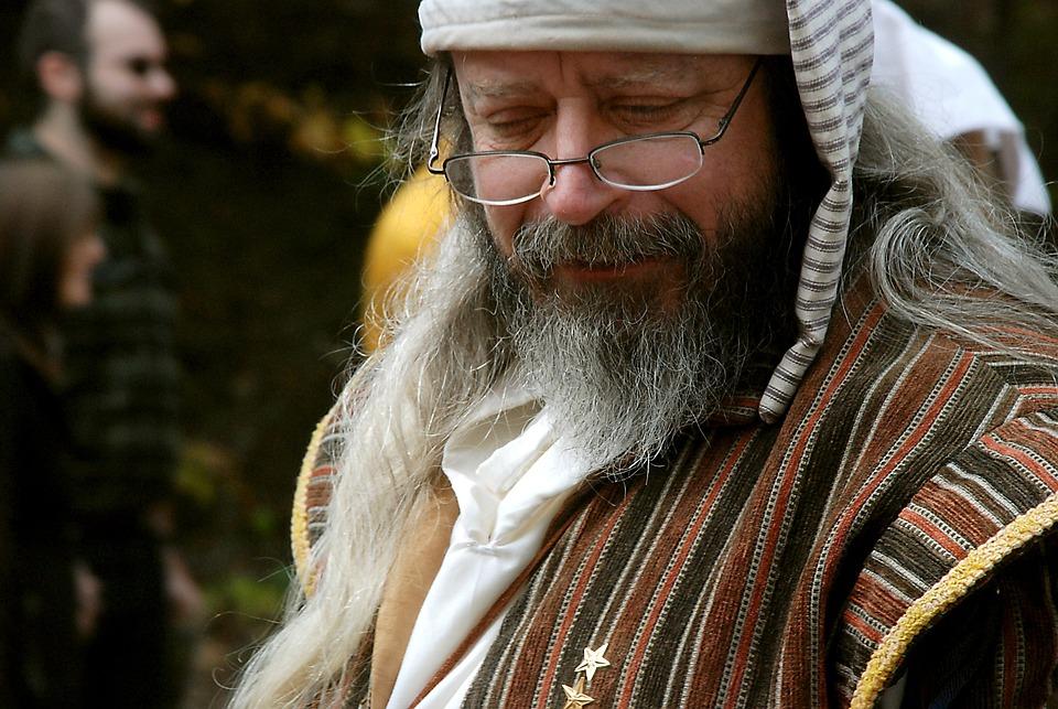 Man, Old, Portrait, Glasses, Hat, Beard, Stripes