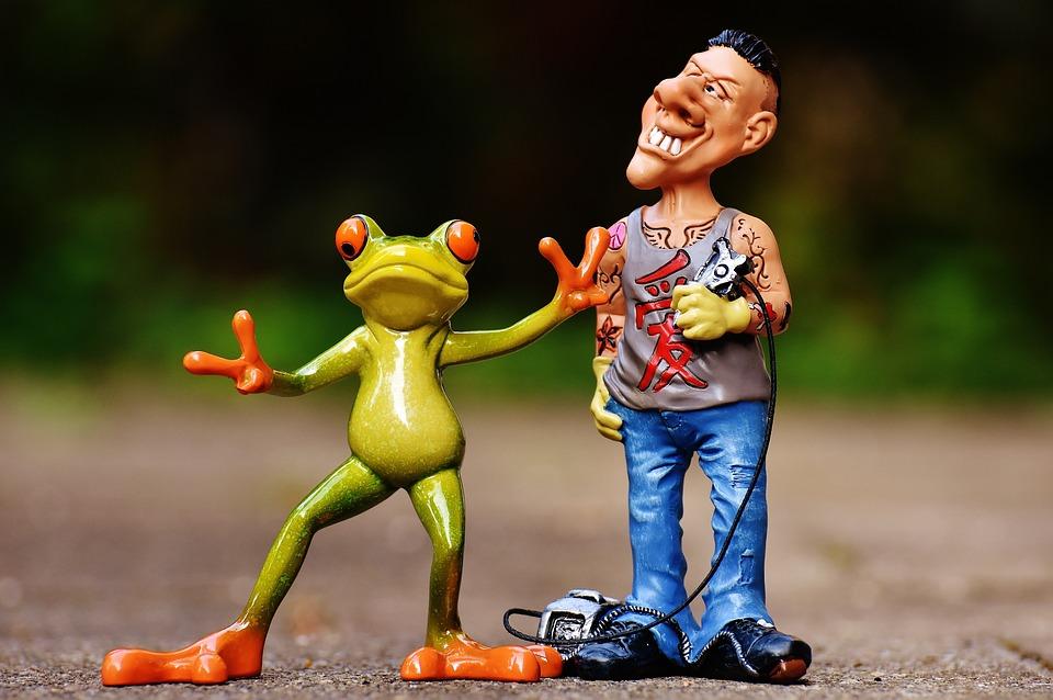 Tattoo Artist, Frog, Customer, Figures, Funny, Man