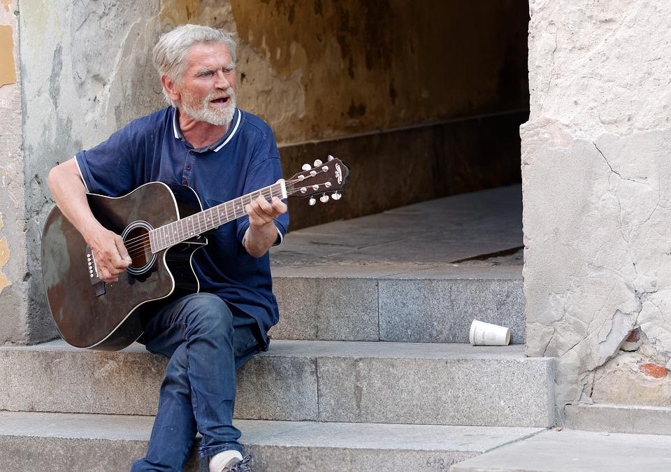 Man, Old, Soloist, Singing, Guitar, The Sound