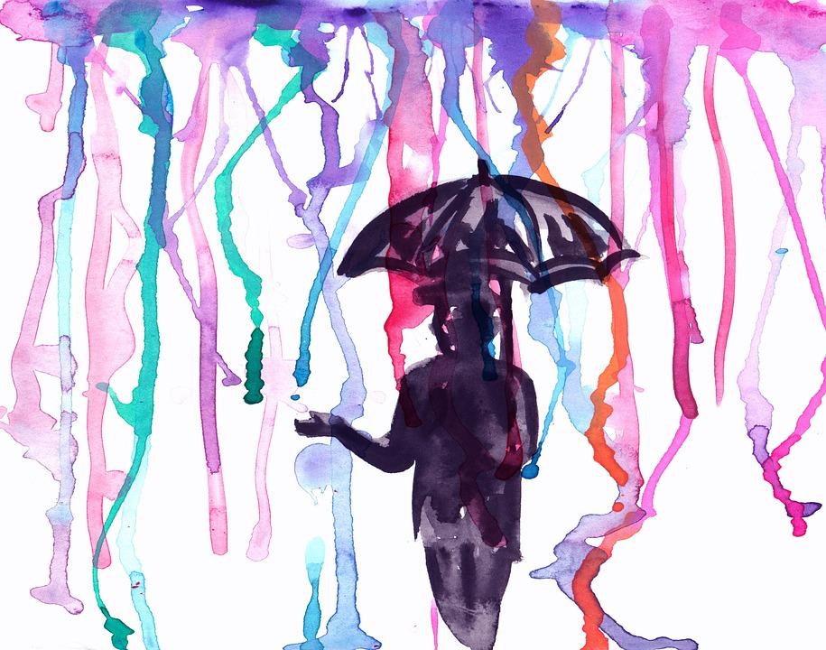 Watercolor, Man, Umbrella, Rain, Paint, Design