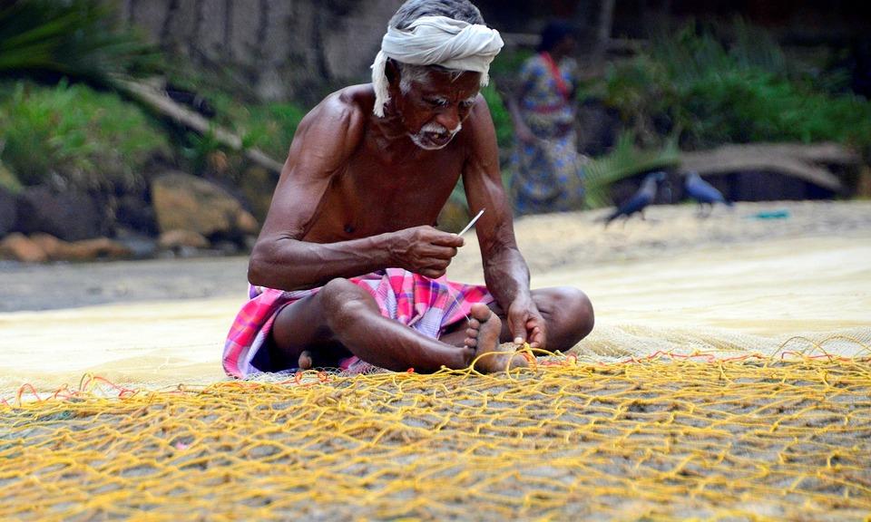 Fishing, Nets, Repair, Valkara, India, Beach, Old, Man