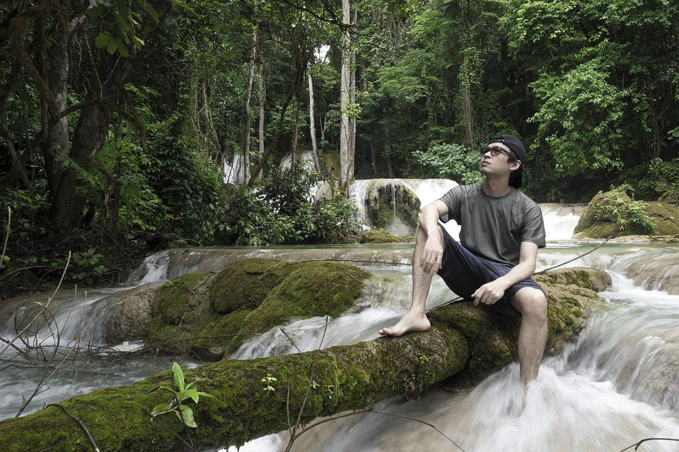 Man, Sitting, Waterfall, Water, Forest, Trees, Rock