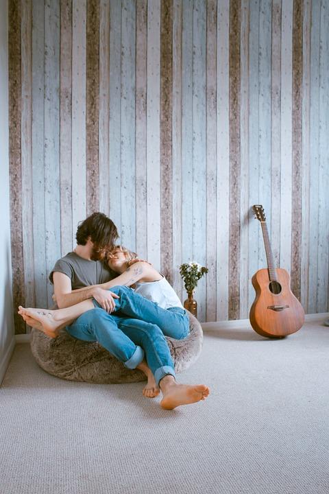 People, Man, Woman, Couple, Love, Hug, Room, Guitar