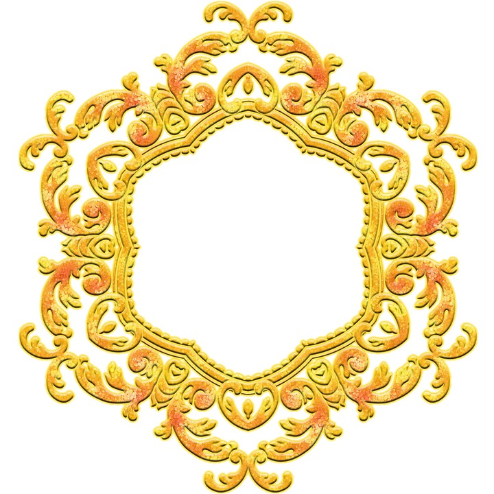 Golden Flowers, Golden Frame, Mandala