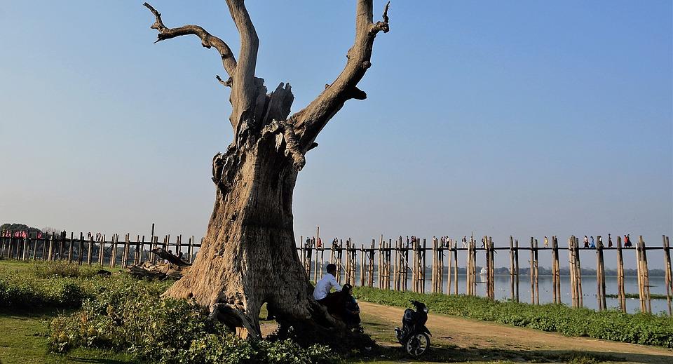 U-bein, Bridge, Mandalay, Tourists, Crossing, Myanmar