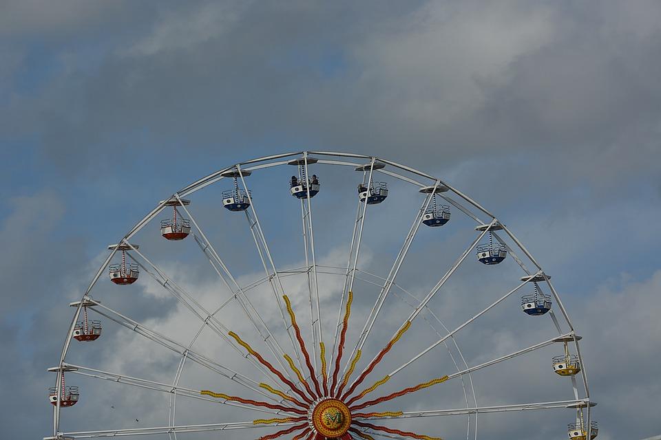 Manege, Wheel, City, Ferris Wheel, Sky, Fair, Games