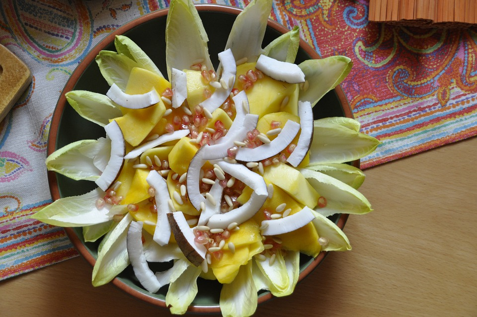 Eat, Salad, Chicory, Coconut, Mango, Plate, Delicious