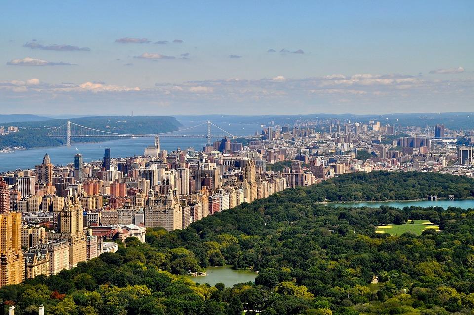 Manhattan, New York, Usa, America, Skyscraper, Park