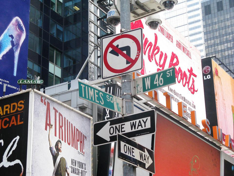 Street Signs, Signs, New York, Manhattan, Time Square
