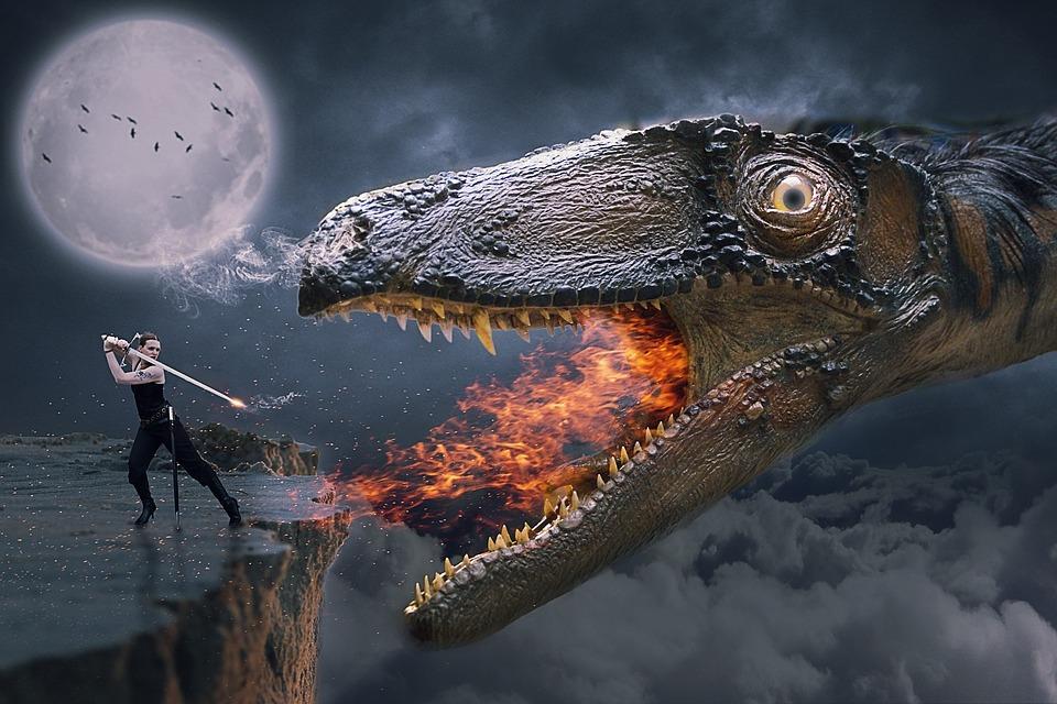 Manipulation, Dragon, Woman, Sword, Fire, Moon, Sky
