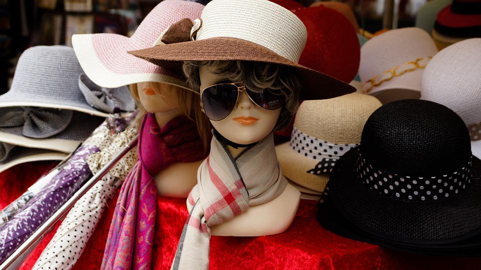 Hat, Shop, Mannequin, Straw, Scarf, Scarves, Sunglasses