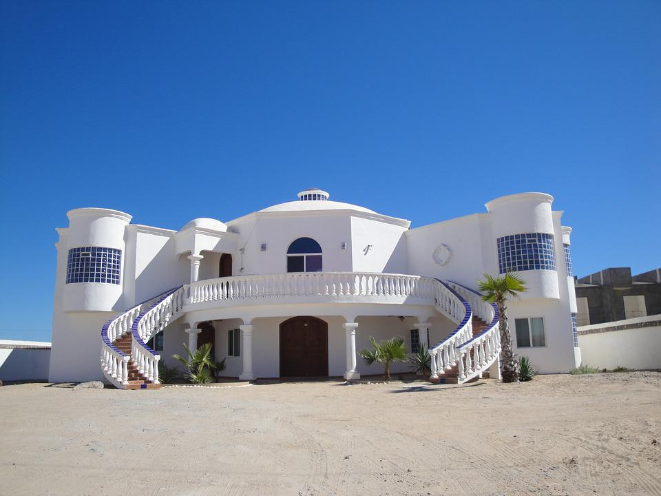 Mexico, Beach, Mansion, White, House, Villa, Stairs