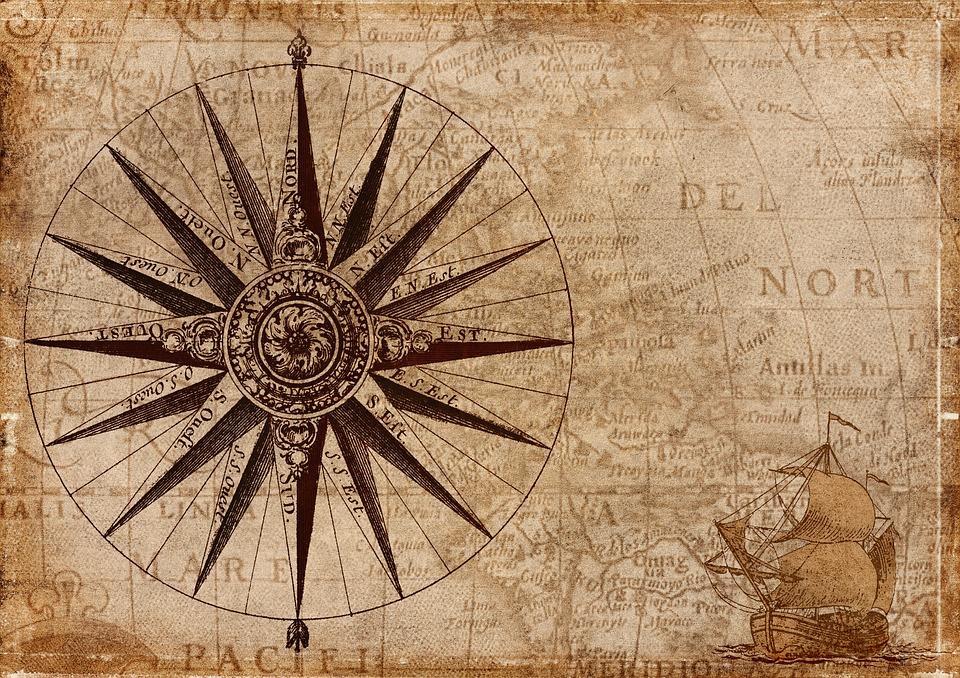 Compass, Ship, Map, Antique, Navigation, Sailing Vessel