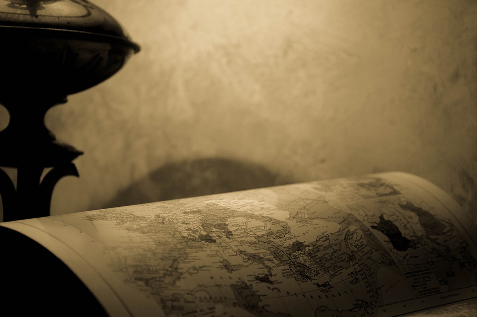 Map, Black And White, Ancient, Days Gone By, Lamp