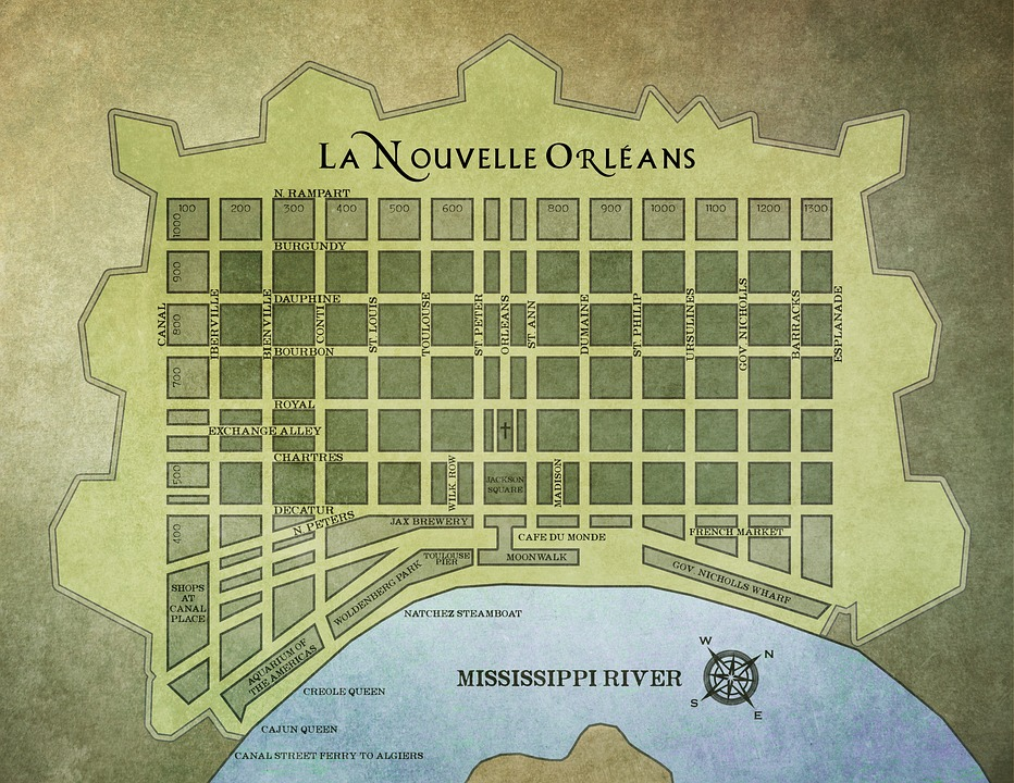 Free Photo Map Louisiana New Orleans French Quarter Max Pixel