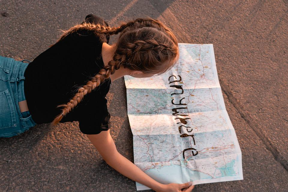 Girl, Woman, Hair, Braids, Map Of The World, Street Map