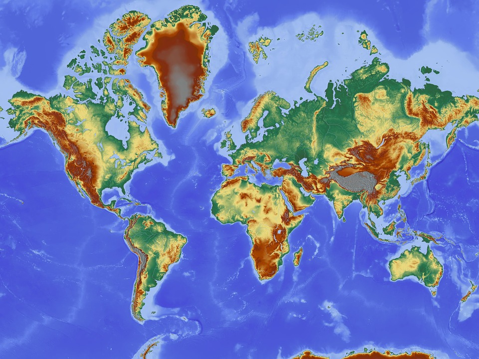 Map, Map Of The World, Relief Map, Earth, Continents