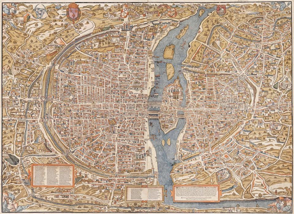 Paris, City, Map, 1550, Old, Drawing, Drawn