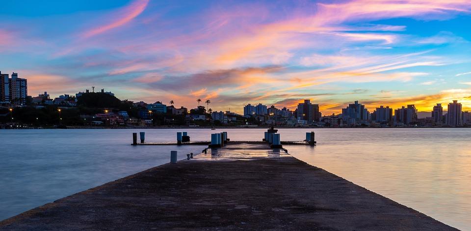 Pier, Mar, Sky, Sol, Colorful