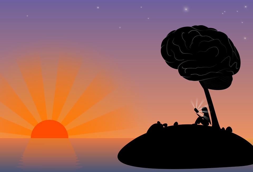 Sunset, Island, Mar, Dusk, Brain, Imagination