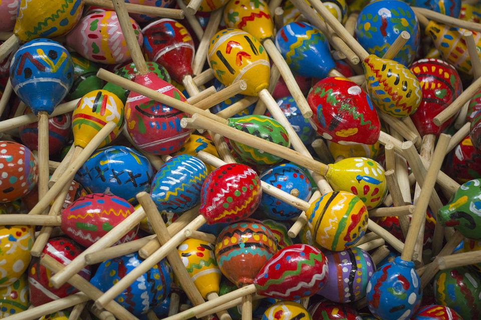 Maracas, Colors, Blue, Red, Yellow, Background