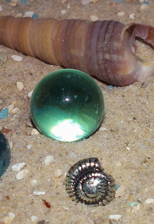 Sand, Marble, Shell, Green, Decoration, Beach, Summer