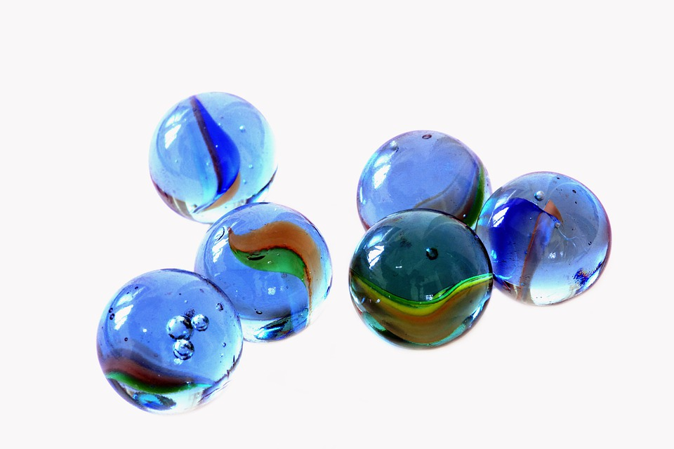 Blue, Glass, Marbles, Kids, Games, Play, Round
