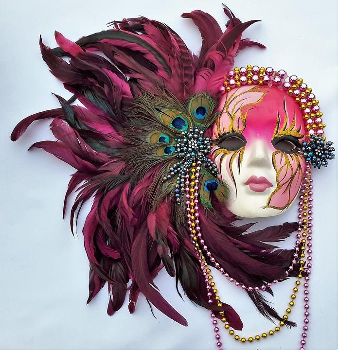 Mar Di Gras, Mardi Gras, Mask, Colorful, Feathers