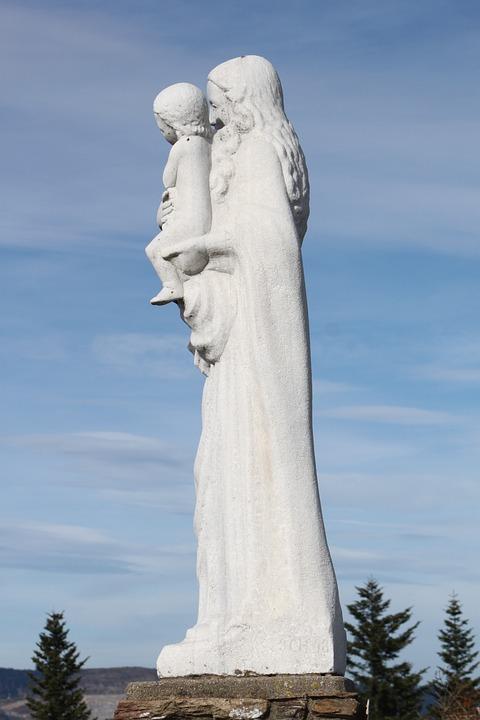 Statue, Maria, Mountain, Madonna