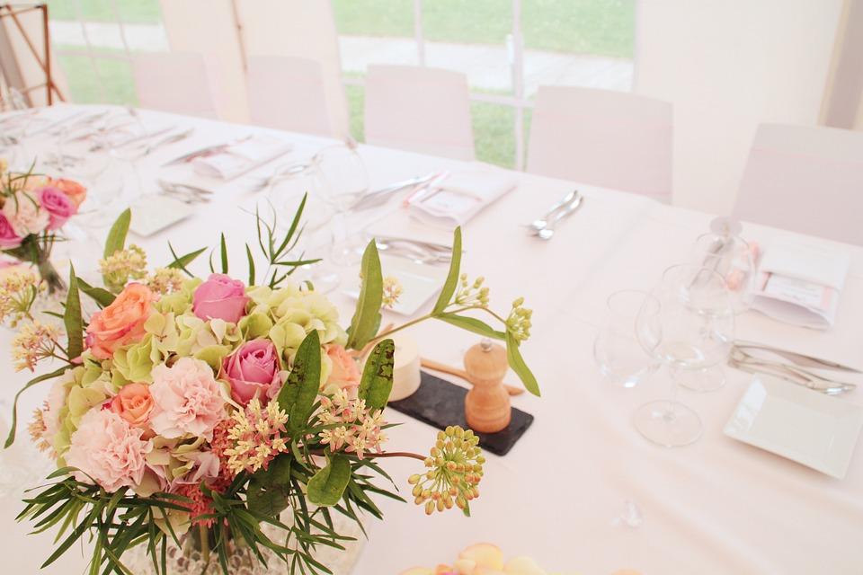 Wedding, Ceremony, Flowers, Bouquet, Marie, Happy