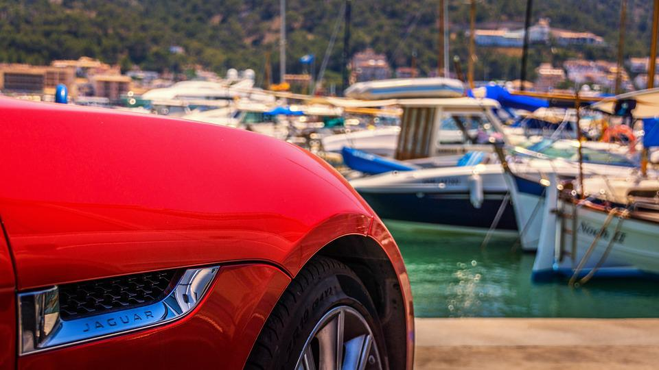 Jaguar, Automotive, Sports Car, Chrome, Red, Marina